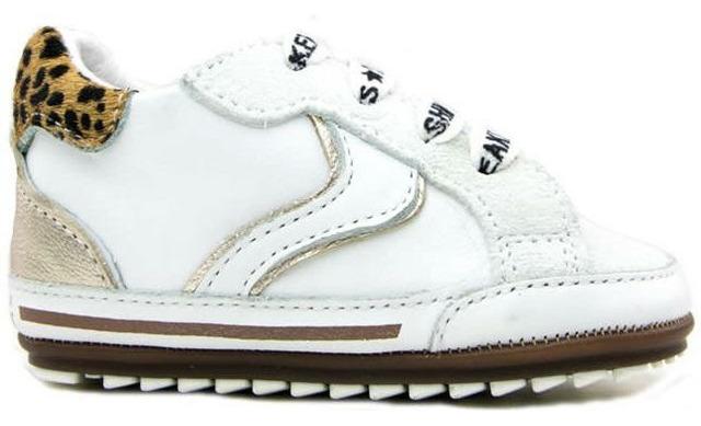 Shoesme Babyschoenen - Wit Met Luipaard Details Bm20s056-k - Shoesme