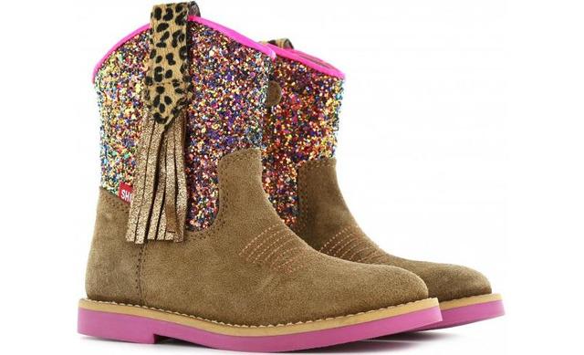 Shoesme Enkellaarsjes - Si20w057-a Lichtbruin Met Glitterschacht Meisjes - Shoesme